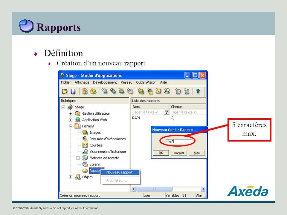 Rapports Définition Création d'un nouveau rapport 5 caractères max.