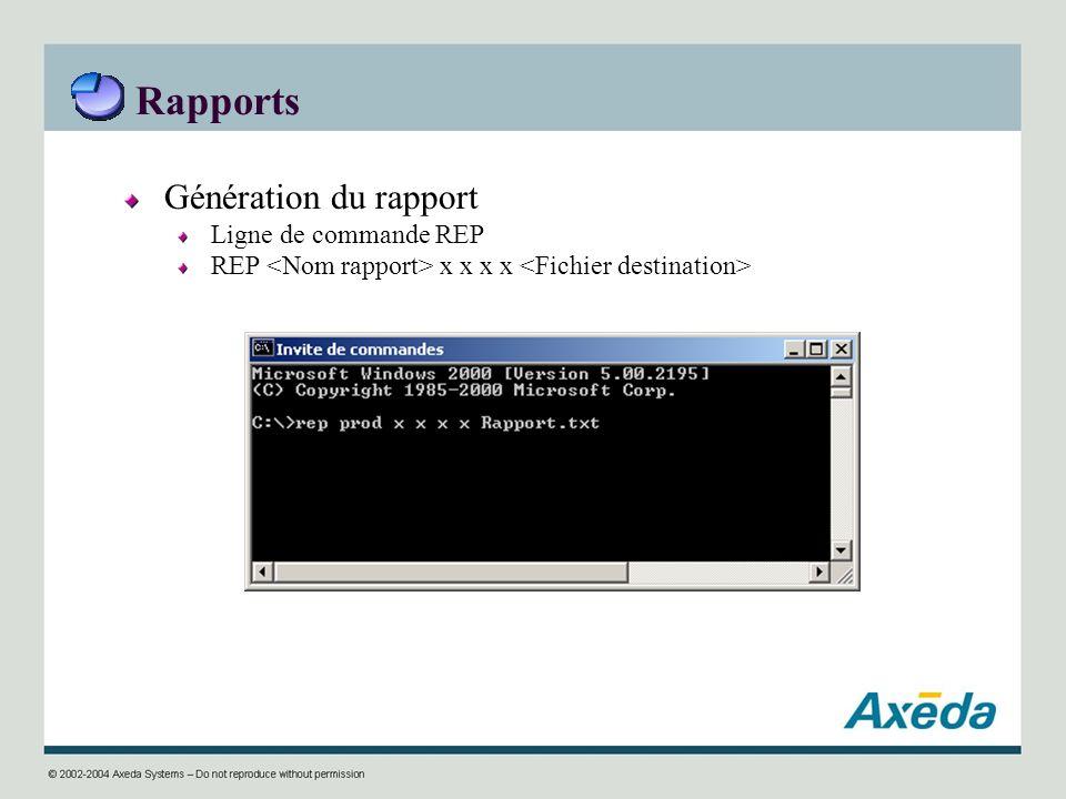 Rapports Génération du rapport Ligne de commande REP