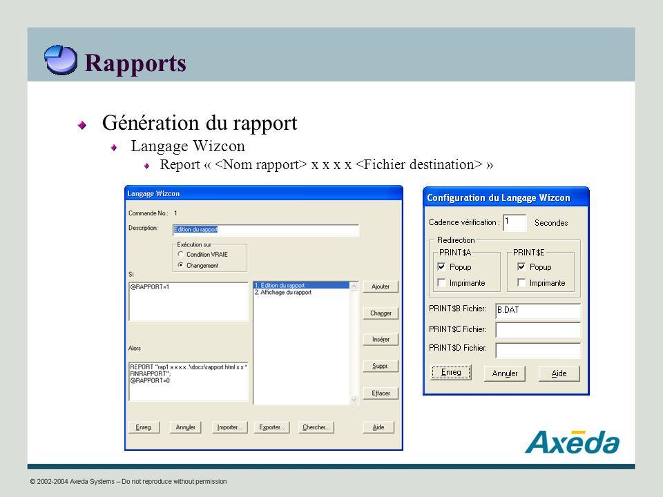 Rapports Génération du rapport Langage Wizcon