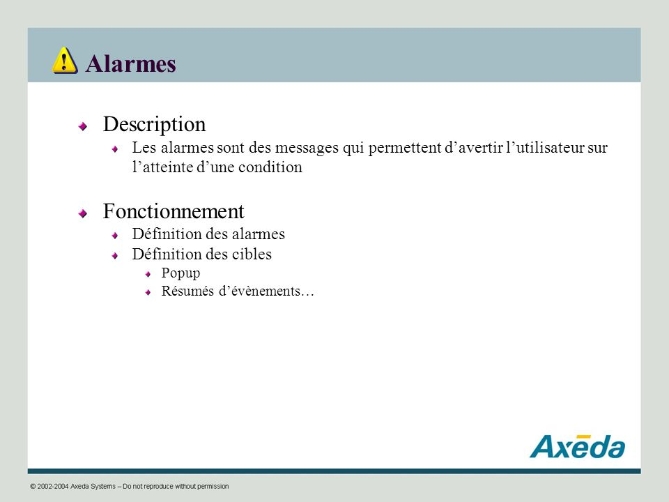 Alarmes Description Fonctionnement