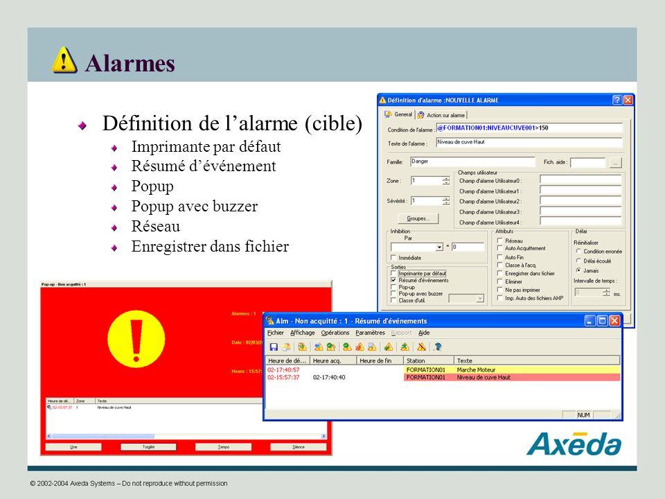 Alarmes Définition de l'alarme (cible) Imprimante par défaut