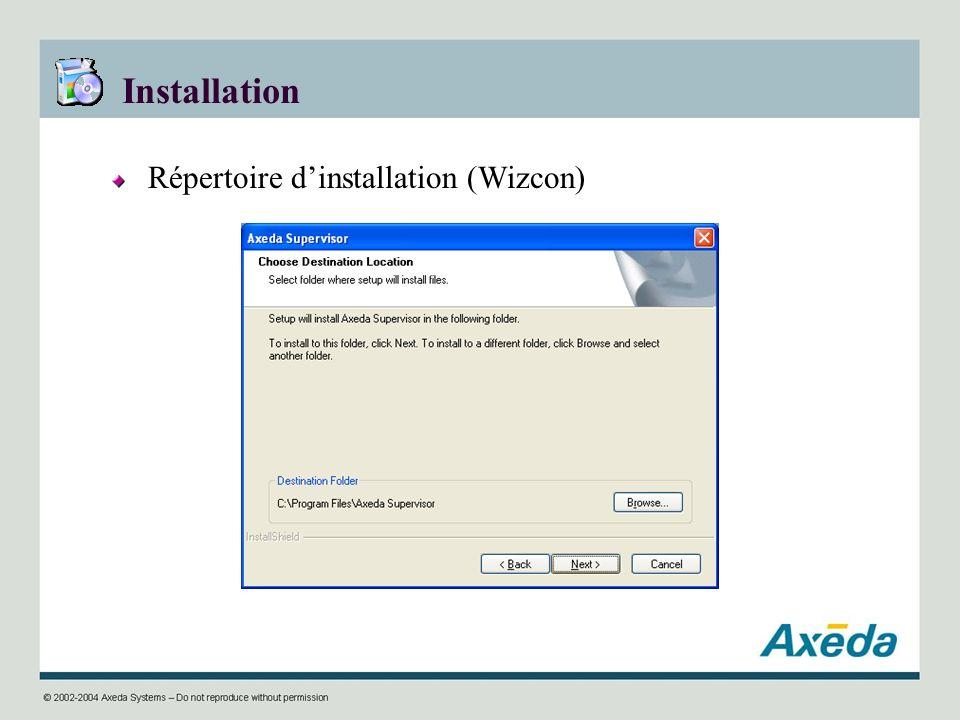 Installation Répertoire d'installation (Wizcon)