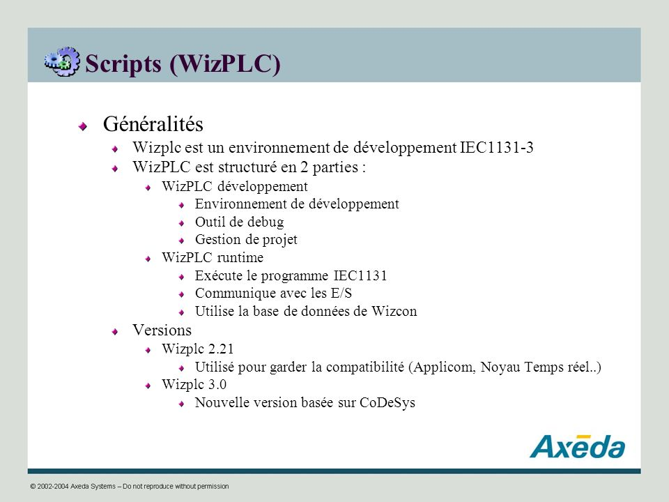 Scripts (WizPLC) Généralités