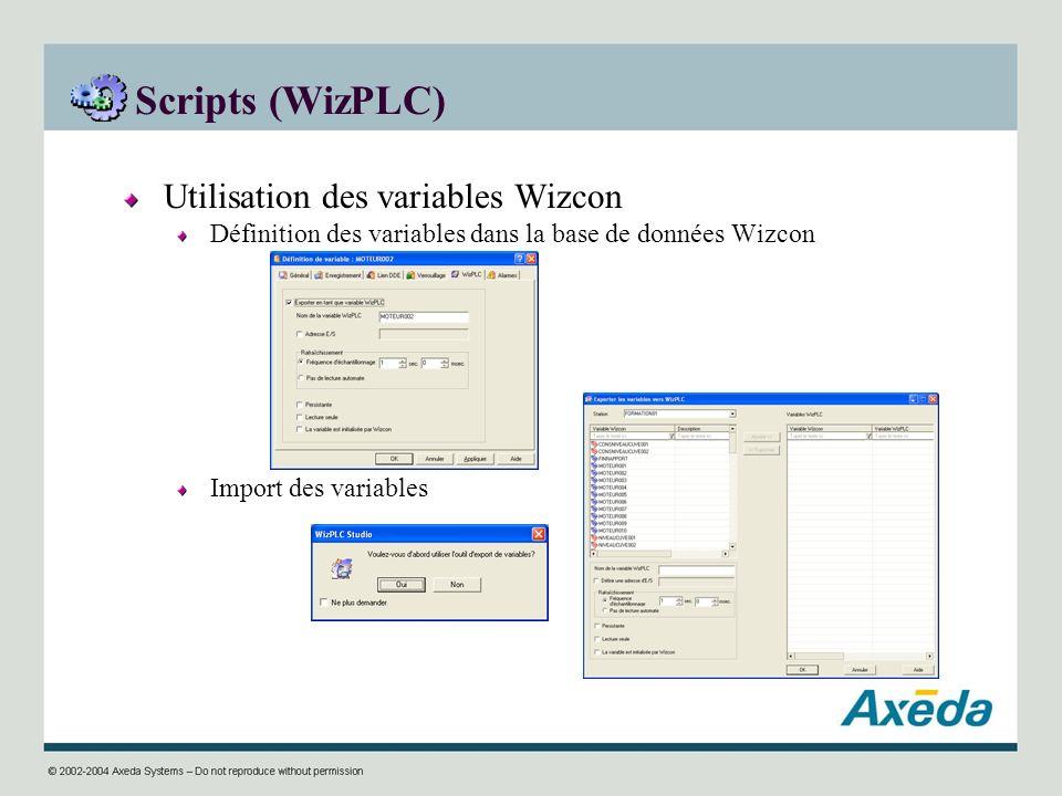 Scripts (WizPLC) Utilisation des variables Wizcon