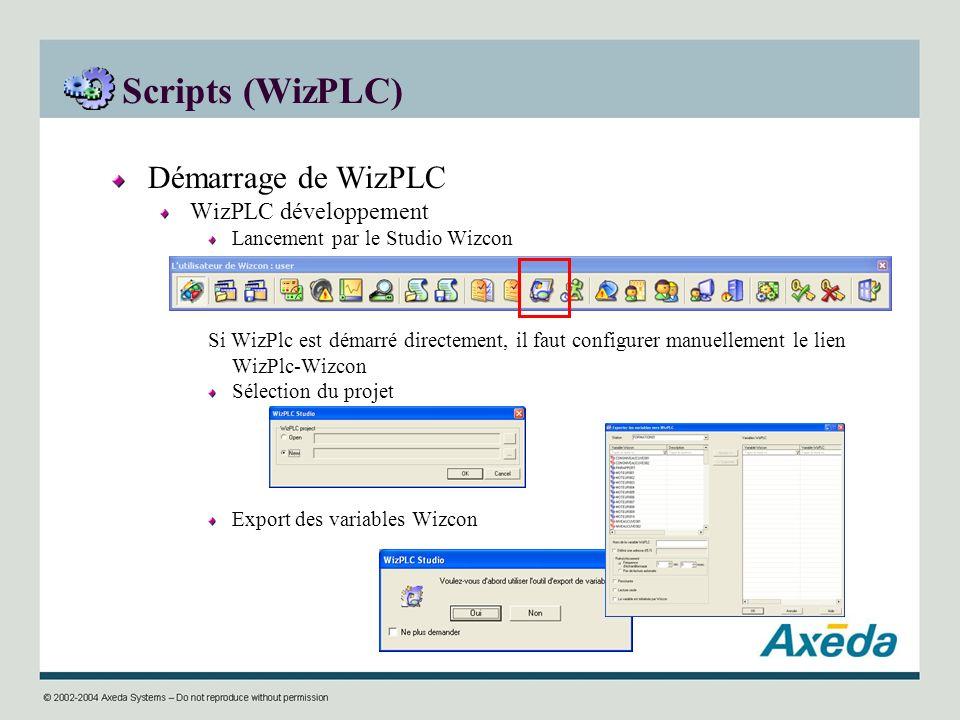 Scripts (WizPLC) Démarrage de WizPLC WizPLC développement