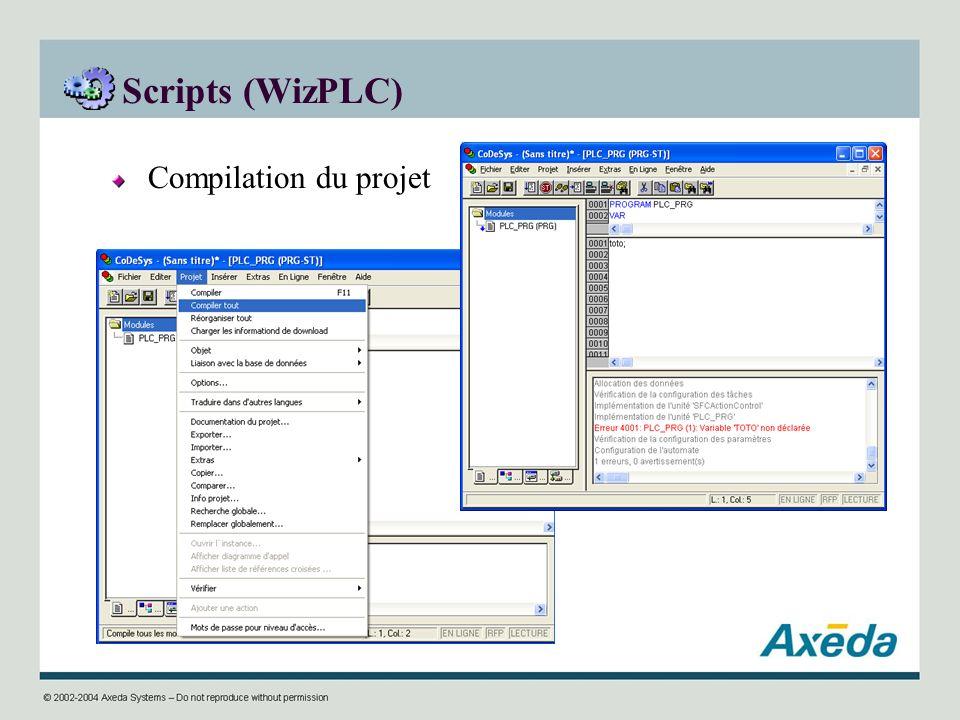 Scripts (WizPLC) Compilation du projet