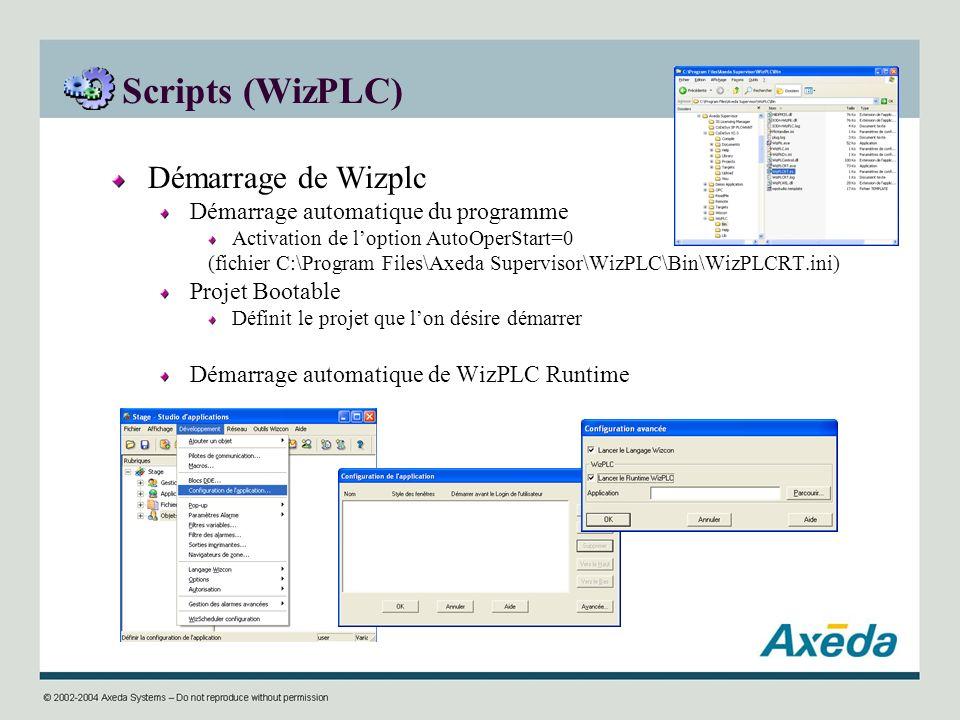 Scripts (WizPLC) Démarrage de Wizplc
