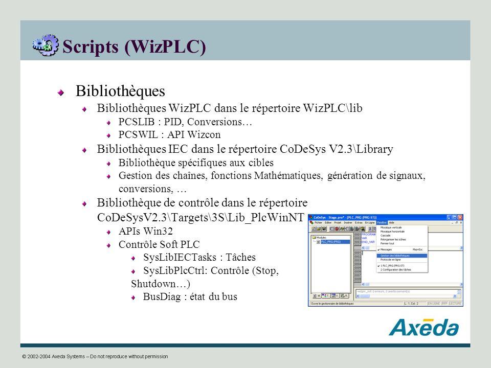 Scripts (WizPLC) Bibliothèques