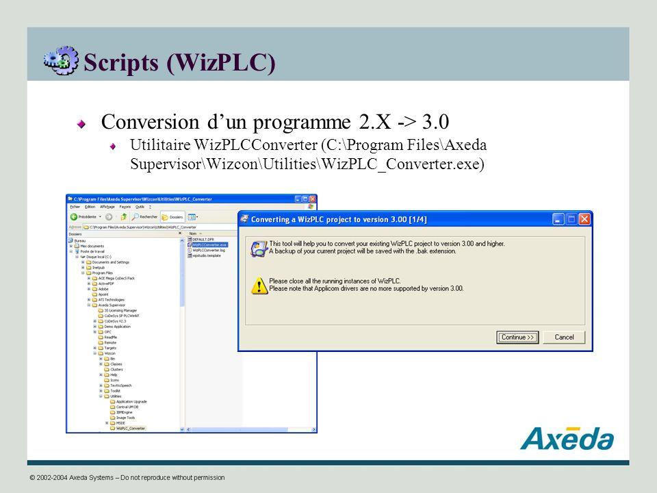 Scripts (WizPLC) Conversion d'un programme 2.X -> 3.0