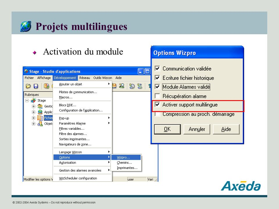 Projets multilingues Activation du module