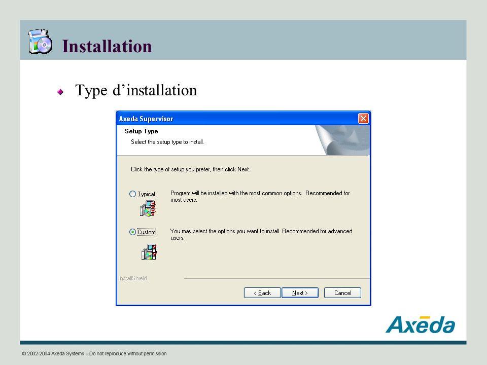 Installation Type d'installation