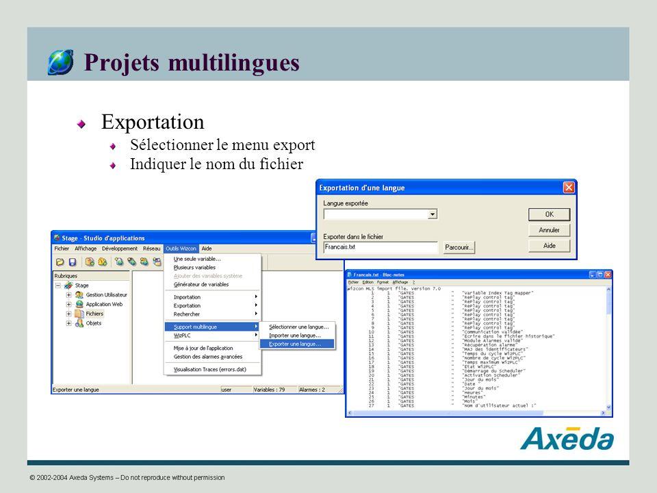 Projets multilingues Exportation Sélectionner le menu export