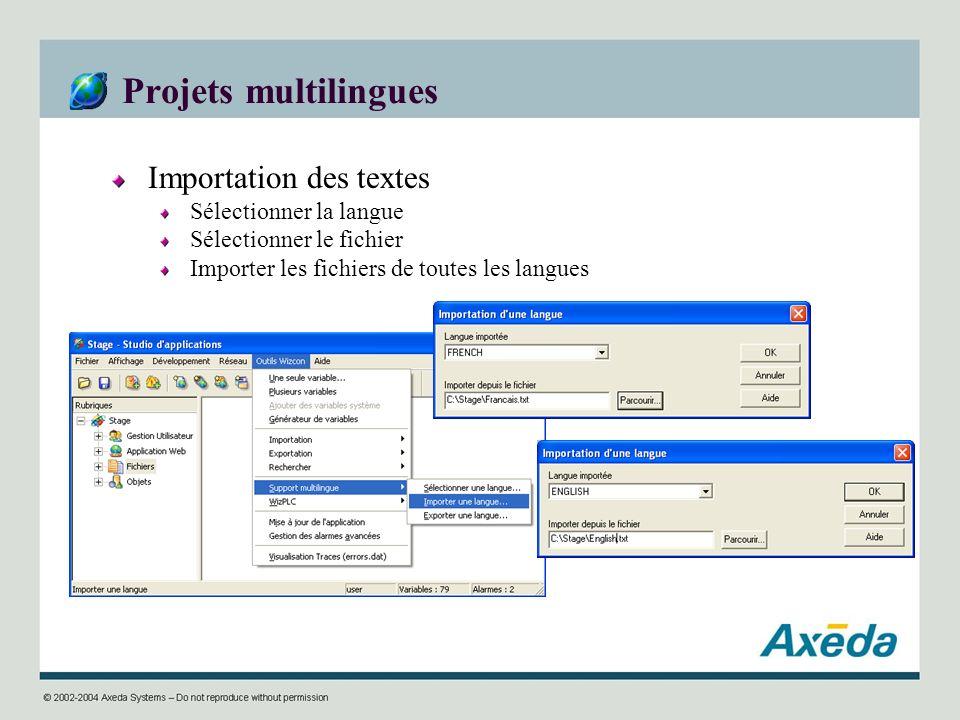 Projets multilingues Importation des textes Sélectionner la langue