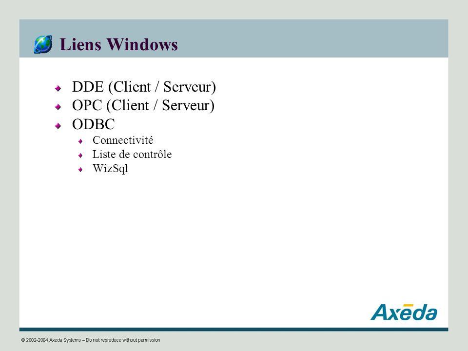 Liens Windows DDE (Client / Serveur) OPC (Client / Serveur) ODBC