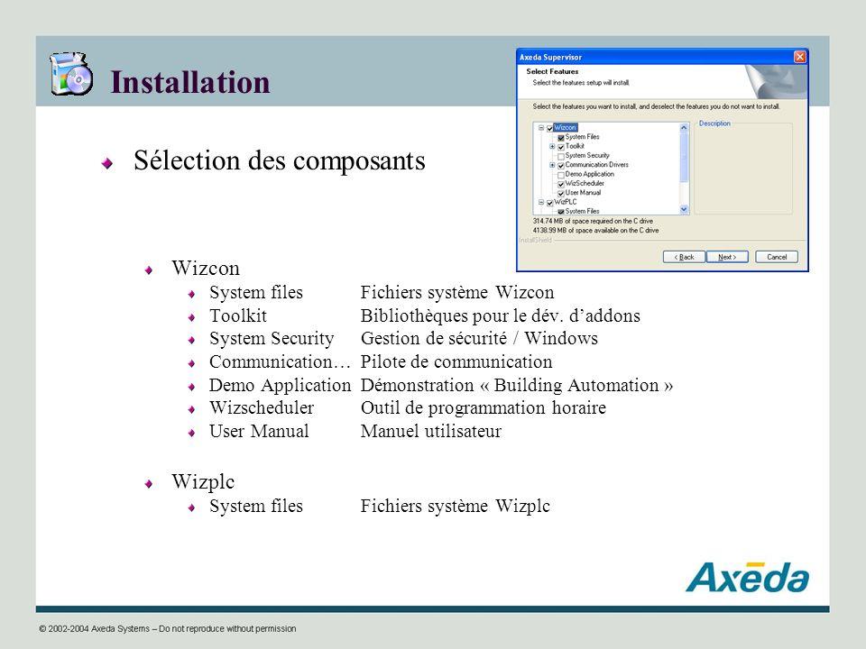 Installation Sélection des composants Wizcon Wizplc