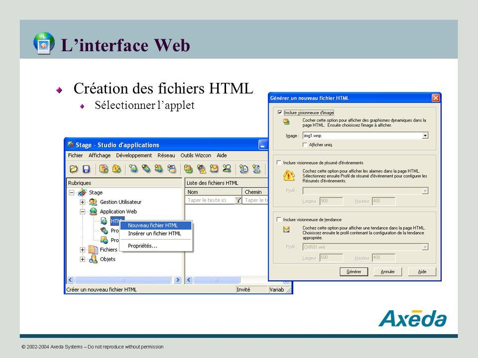 L'interface Web Création des fichiers HTML Sélectionner l'applet