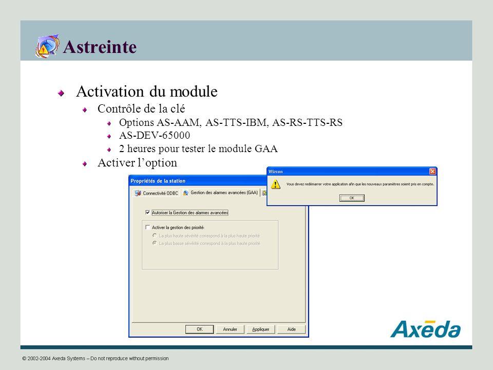 Astreinte Activation du module Contrôle de la clé Activer l'option