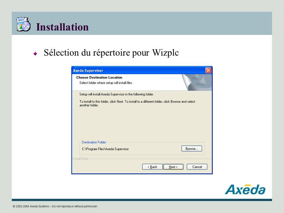 Installation Sélection du répertoire pour Wizplc
