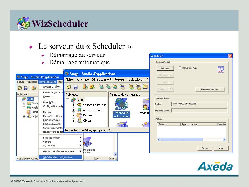 WizScheduler Le serveur du « Scheduler » Démarrage du serveur