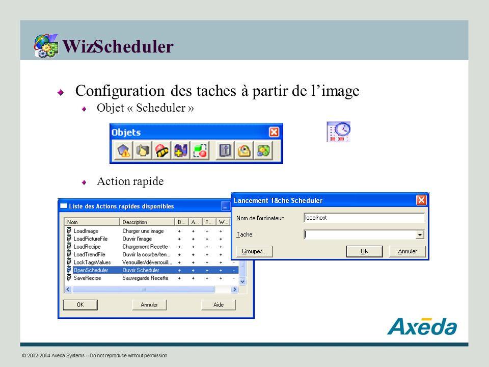 WizScheduler Configuration des taches à partir de l'image