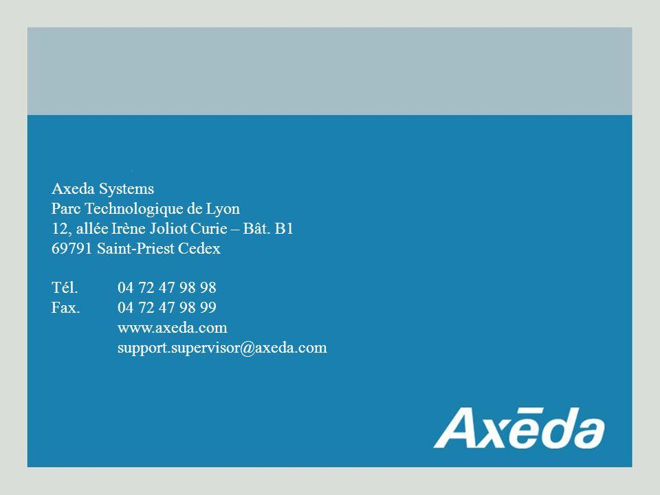 Axeda Systems Parc Technologique de Lyon 12, allée Irène Joliot Curie – Bât.