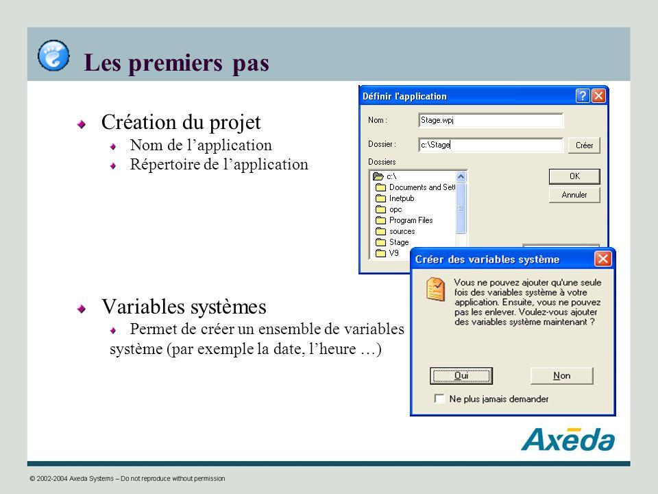 Les premiers pas Création du projet Variables systèmes