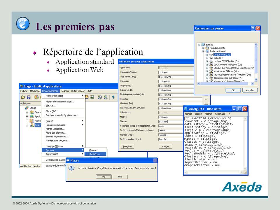 Les premiers pas Répertoire de l'application Application standard