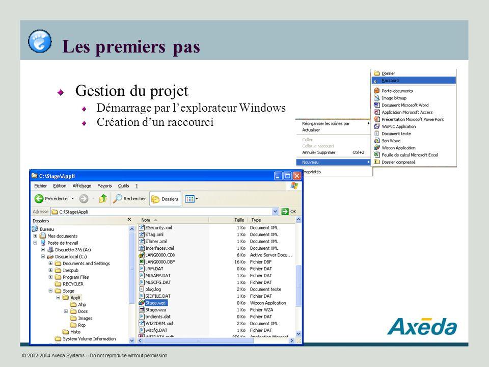 Les premiers pas Gestion du projet Démarrage par l'explorateur Windows