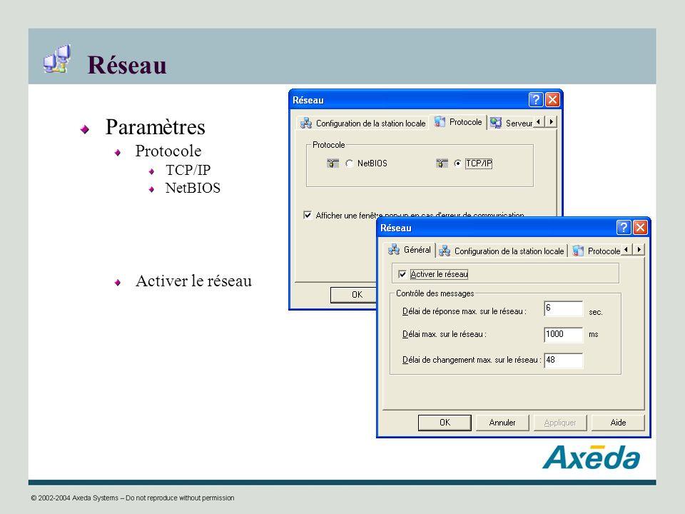 Réseau Paramètres Protocole TCP/IP NetBIOS Activer le réseau