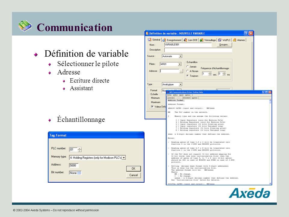 Communication Définition de variable Sélectionner le pilote Adresse