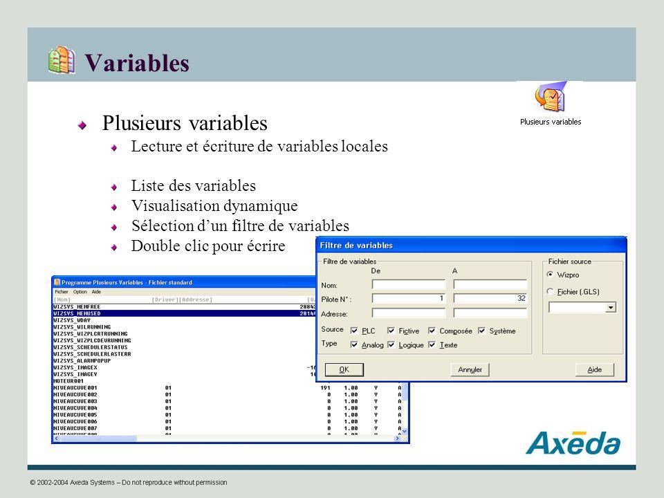 Variables Plusieurs variables Lecture et écriture de variables locales
