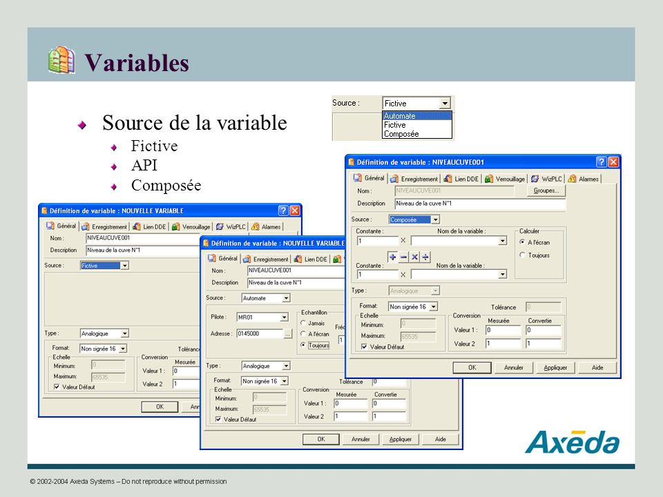 Variables Source de la variable Fictive API Composée