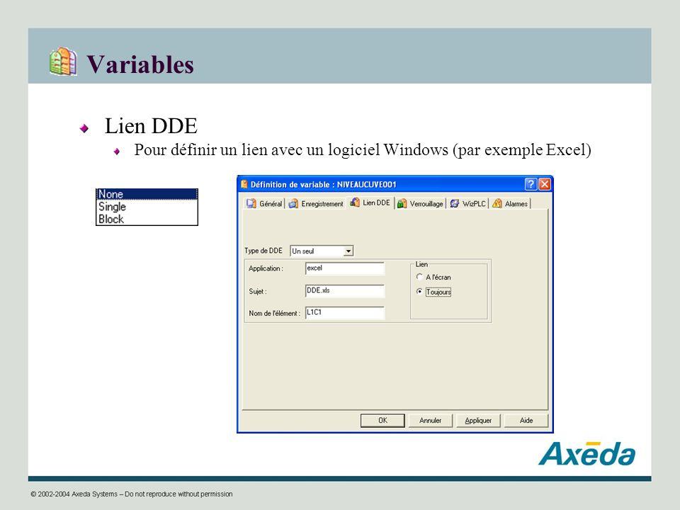 Variables Lien DDE Pour définir un lien avec un logiciel Windows (par exemple Excel)