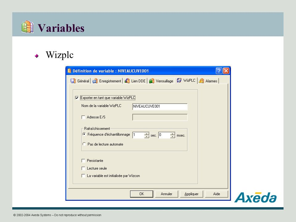 Variables Wizplc