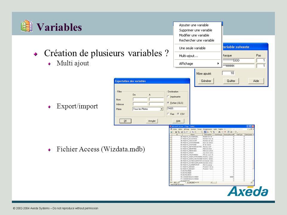 Variables Création de plusieurs variables Multi ajout Export/import