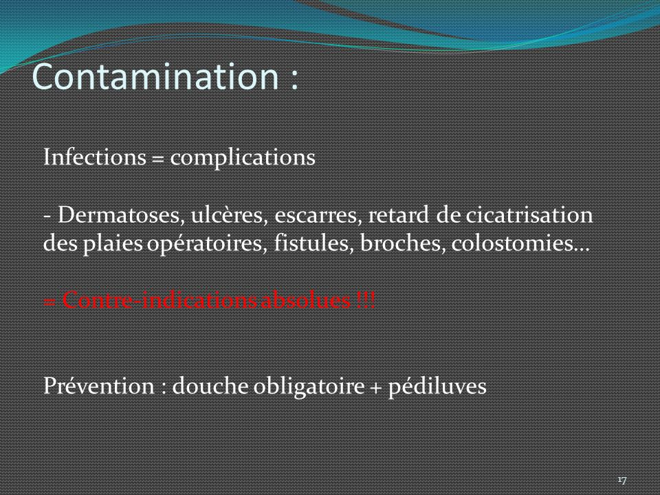 Contamination : Infections = complications