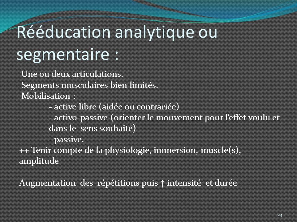 Rééducation analytique ou segmentaire :