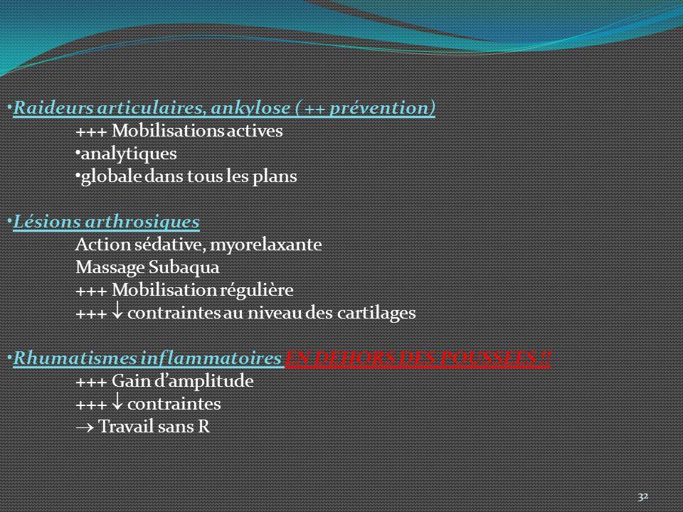 Raideurs articulaires, ankylose ( ++ prévention)
