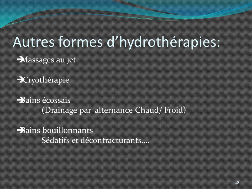 Autres formes d'hydrothérapies: