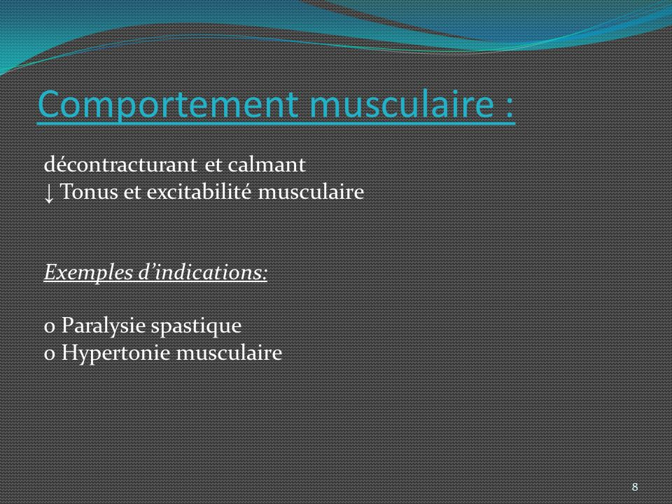 Comportement musculaire :