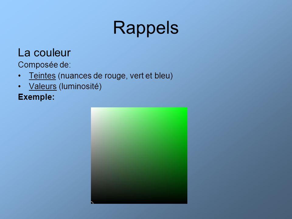 Rappels La couleur Composée de: