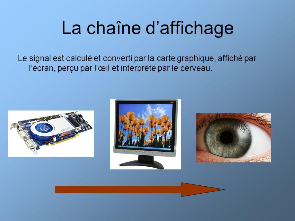 La chaîne d'affichage Le signal est calculé et converti par la carte graphique, affiché par l'écran, perçu par l'œil et interprété par le cerveau.