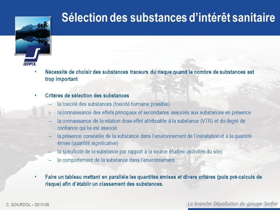 Sélection des substances d'intérêt sanitaire