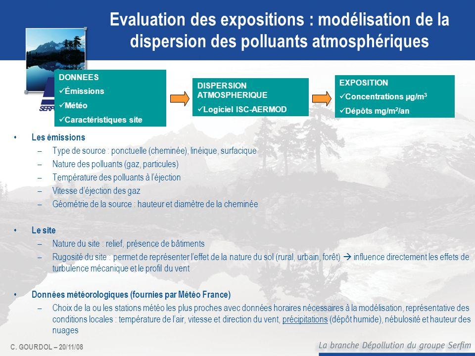 Evaluation des expositions : modélisation de la dispersion des polluants atmosphériques