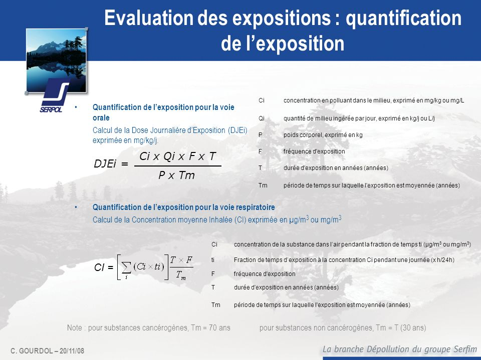 Evaluation des expositions : quantification de l'exposition