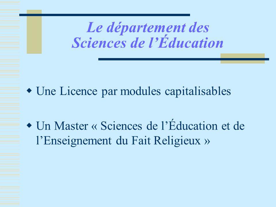Le département des Sciences de l'Éducation