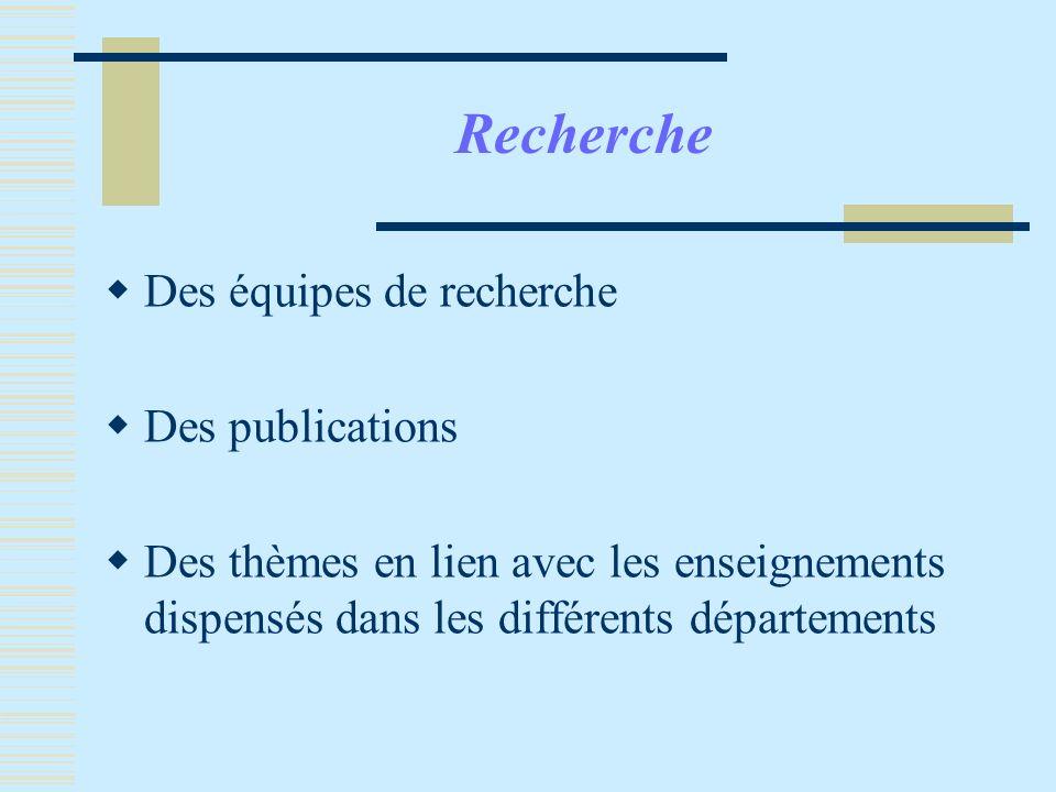 Recherche Des équipes de recherche Des publications