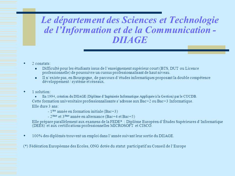 Le département des Sciences et Technologie de l'Information et de la Communication - DIIAGE