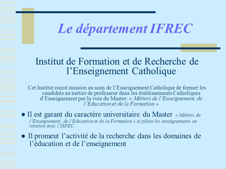Institut de Formation et de Recherche de l'Enseignement Catholique