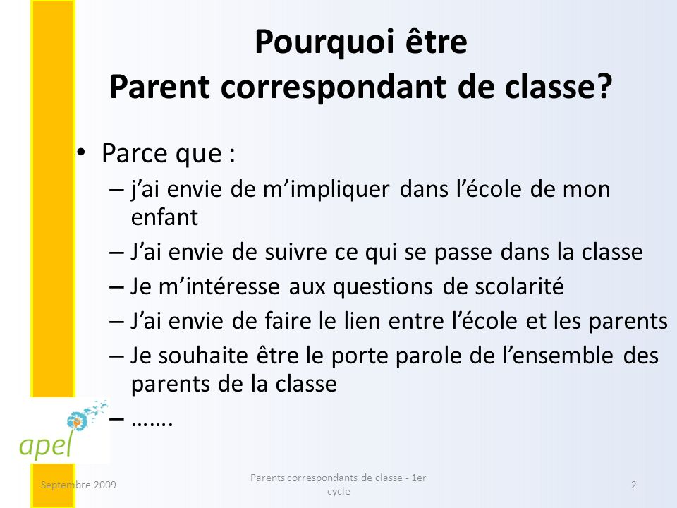 Pourquoi être Parent correspondant de classe